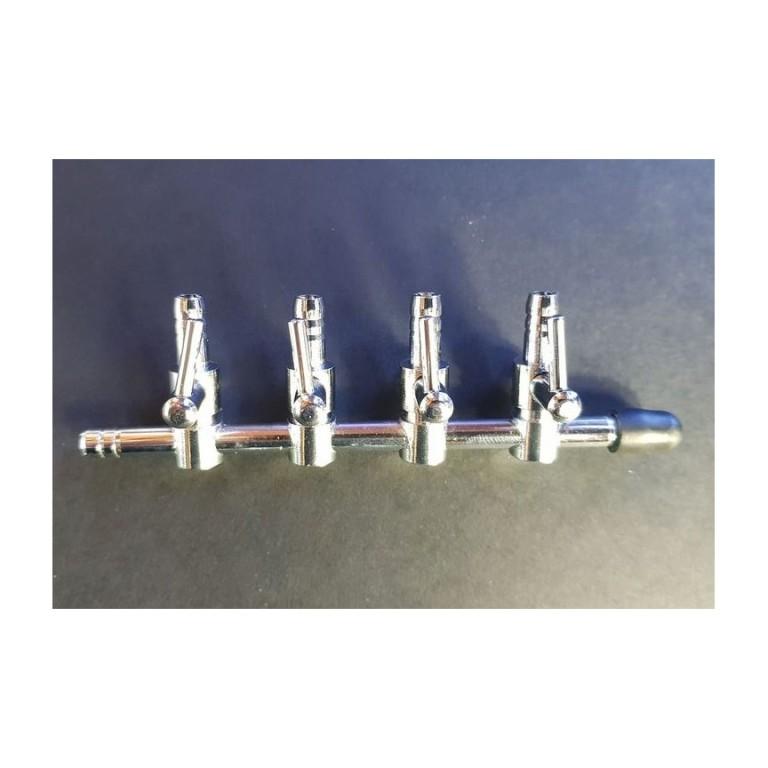 Atman - Fém szabályozható levegőcsap 4 utas (in/out) 5mm